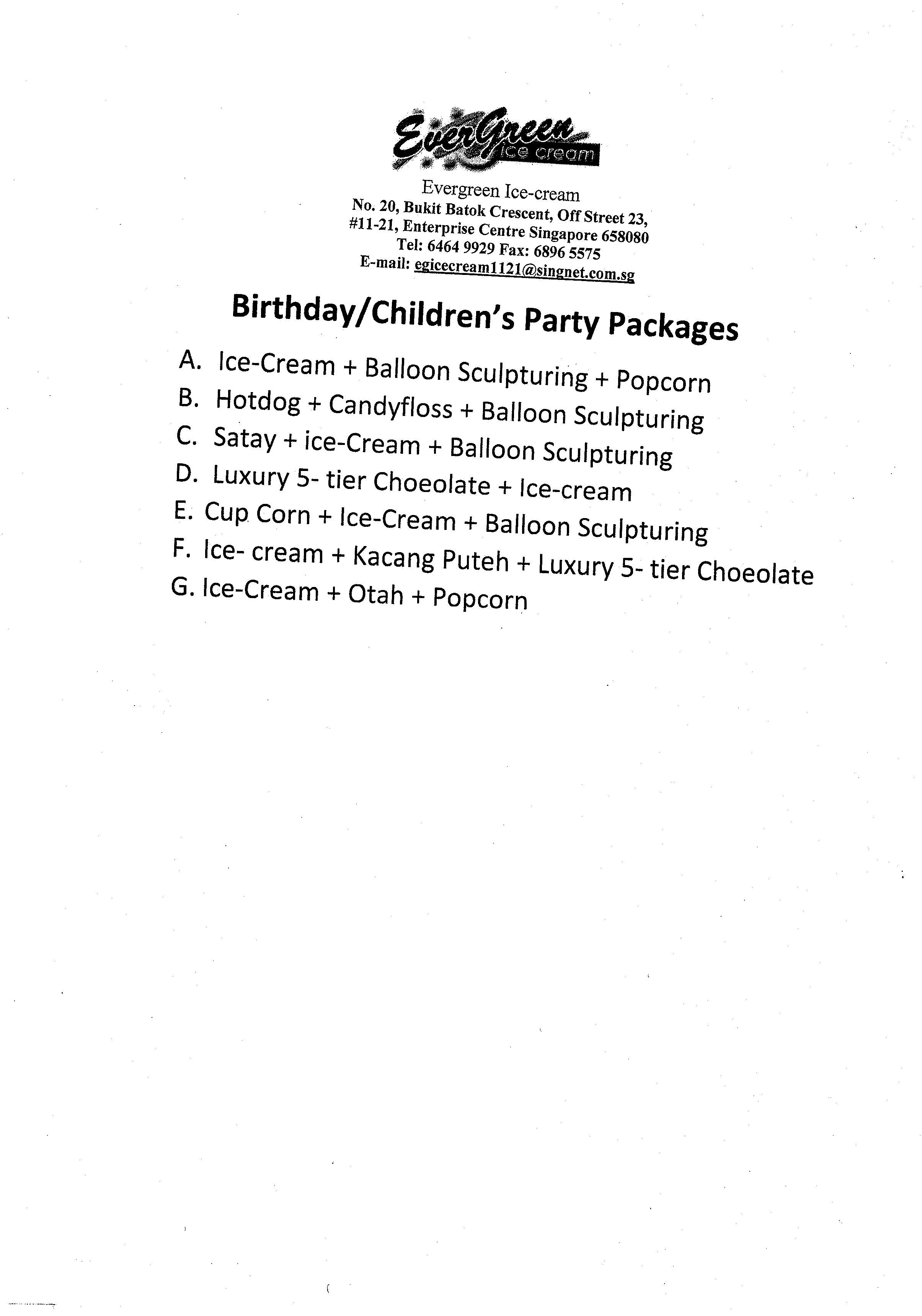 Birthday/Children's Party Packages